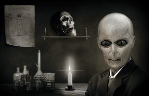 Alien Skull And Candle