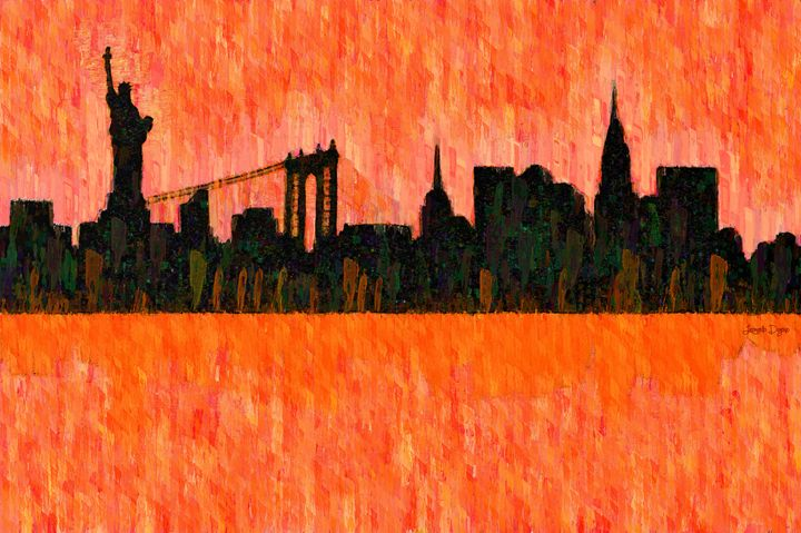 New York Skyline Silhouette Red - Leonardo Digenio