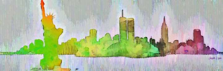 New York Skyline Old Shapes 2 - Leonardo Digenio