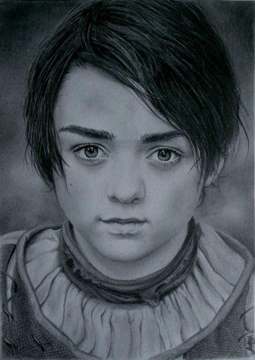 Arya Stark GOT portrait drawing - Birds Don't Exist