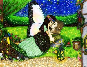 Lovers under starlight.