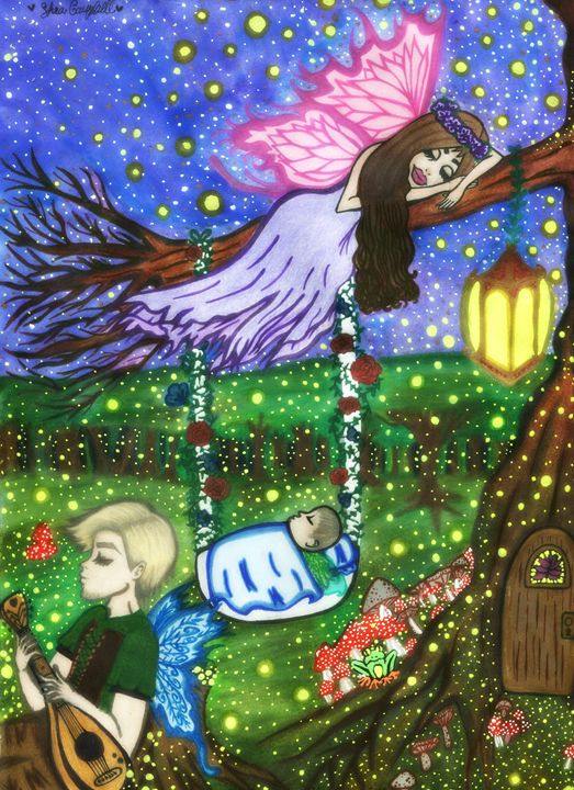 Fireflies in the Garden. - Shea Campbell Art