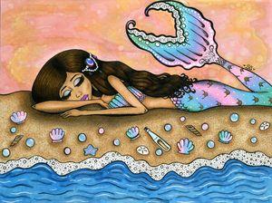 Watercolor Mermaid Print.