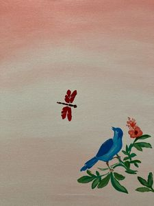 Bird and dragonfly