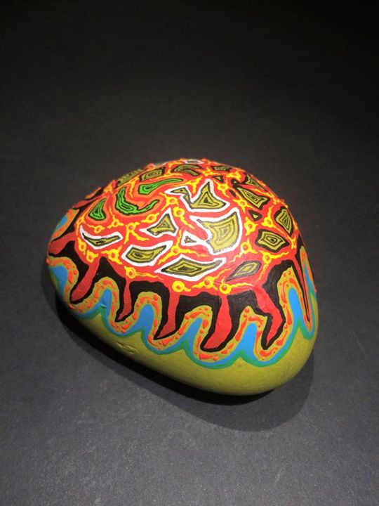 Painted stone, Xavier Gaillot - Xavier Gaillot Art