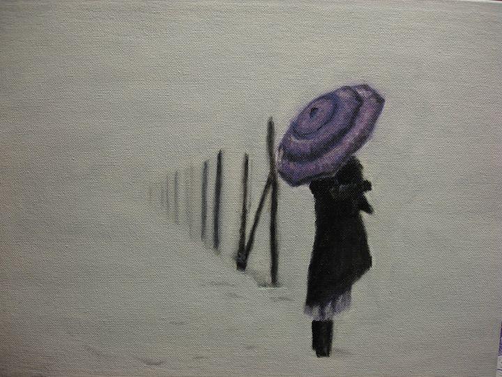 Umbrella in Snowy Fog - Paul McCall