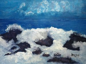 Waves over rocks in Monterrey - Arts Alive Studio