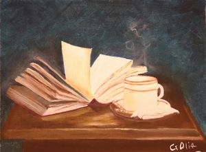 Book with cup of coffee/tea.