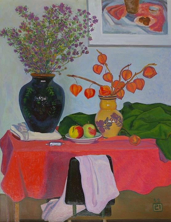 Still life with red tablecloth - Moesey Li