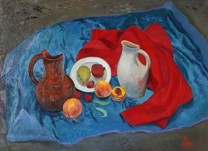 Still life with peaches and a jug - Moesey Li