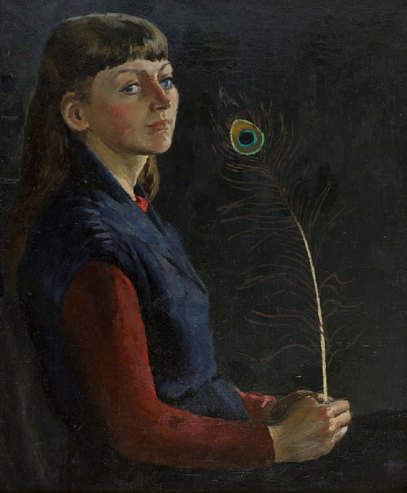 A girl with peacock feather - Moesey Li