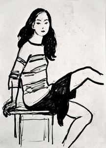 Sitting girl sketch