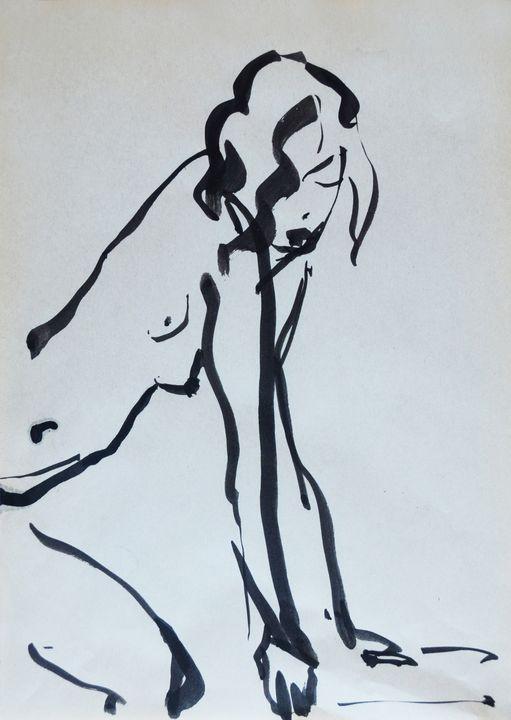 Nude woman sketch 002 - Margarita Felis