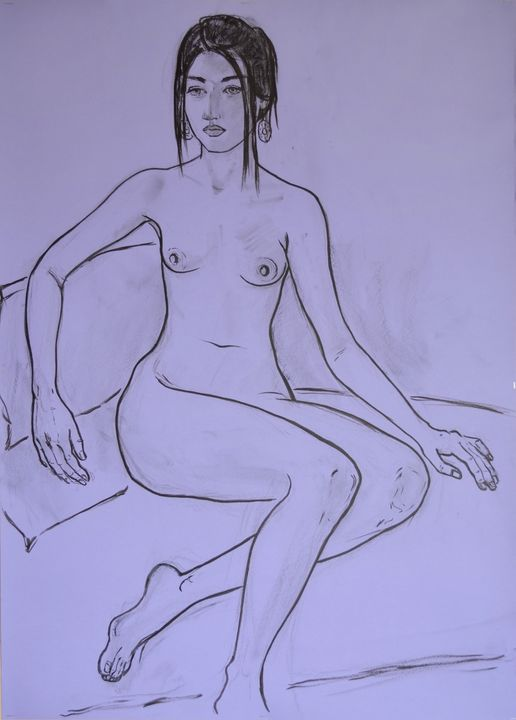 Nude, charcoal drawing - Margarita Felis