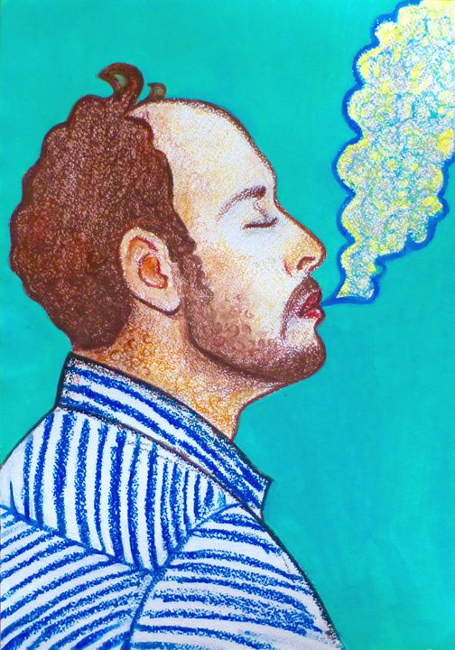 Portrait of smoking man - Margarita Felis