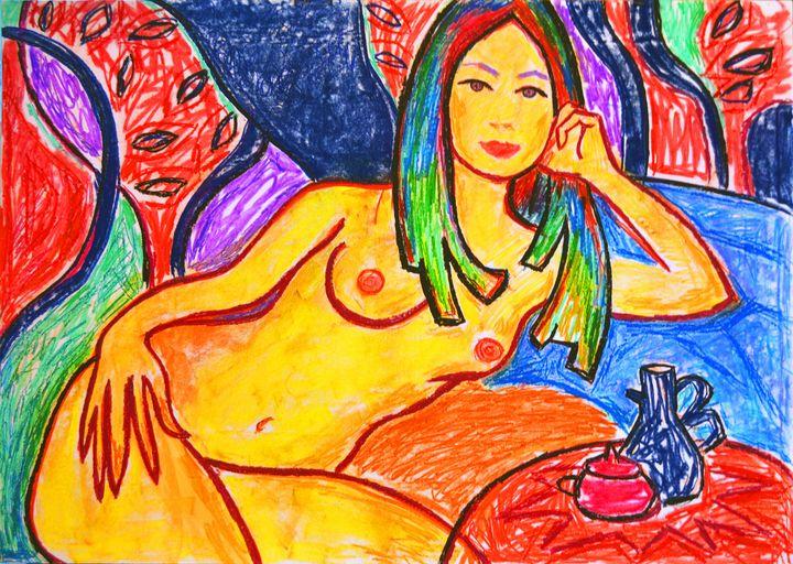 Lying nude with jugs - Margarita Felis