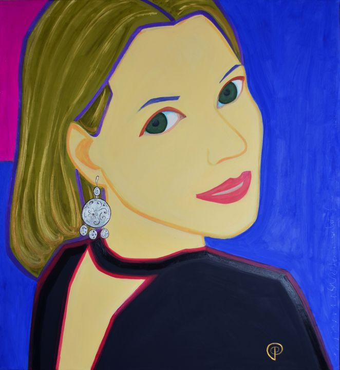 Portrait of woman on blue - Margarita Felis