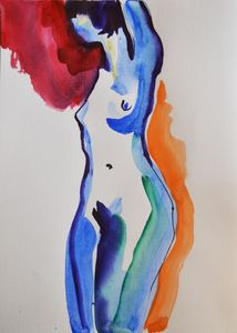 Nude watercolor 0002 - Margarita Felis