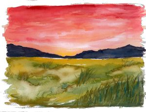Dawn over mountains and fields - Melomi Art