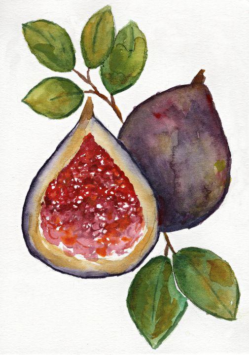 Fig n' Leaves in watercolor - Melomi Art