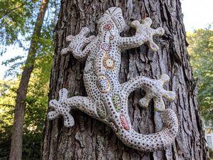 Coastal art. Clay Gecko Sculpture