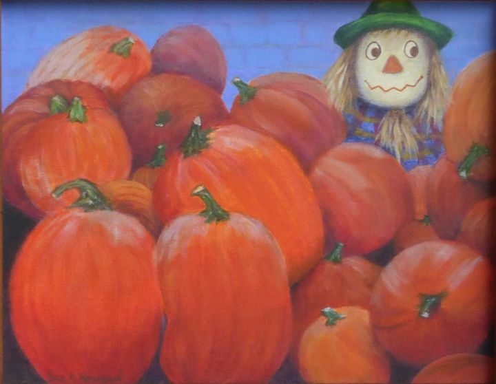 Scarecrow in the Pumpkin Pile - SueNeufarthHowardArt