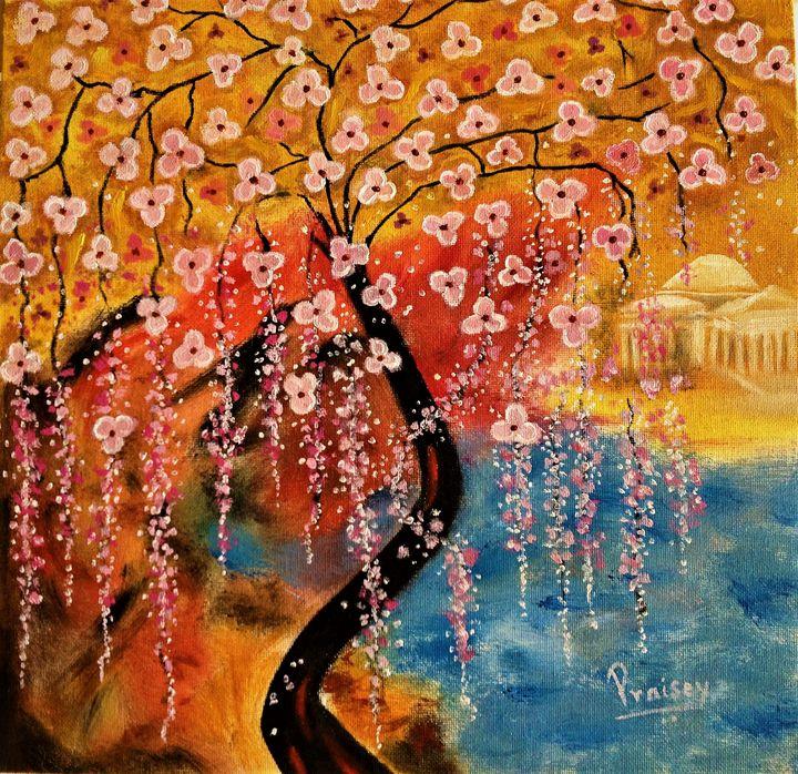 Cherry Blossom And Jefferson Memoria - Praisey Peter Art