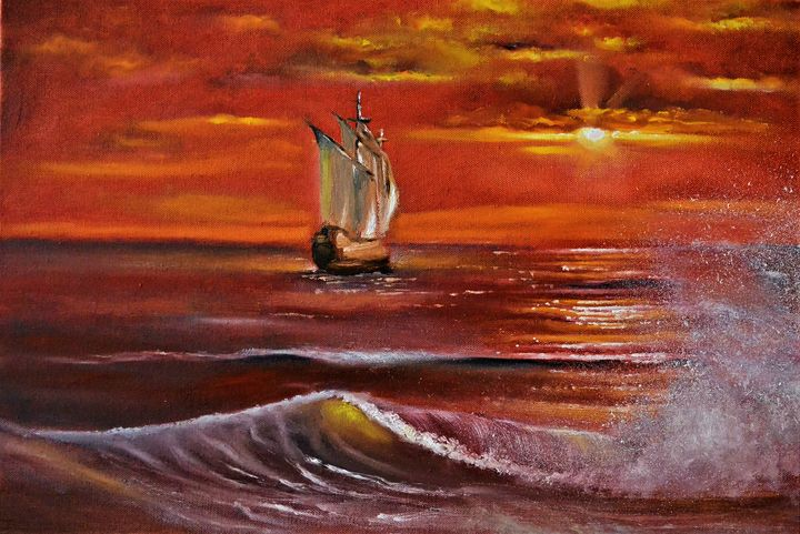 Sunset over the sea - Praisey Peter Art