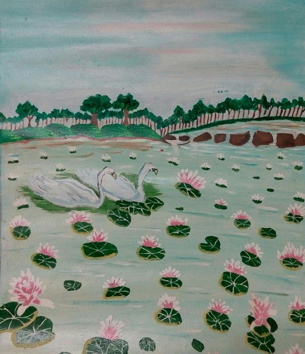 lotus in pond - art as stress buster