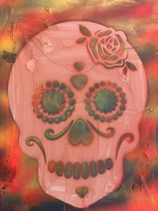 11 x 14 skull spray paint panting
