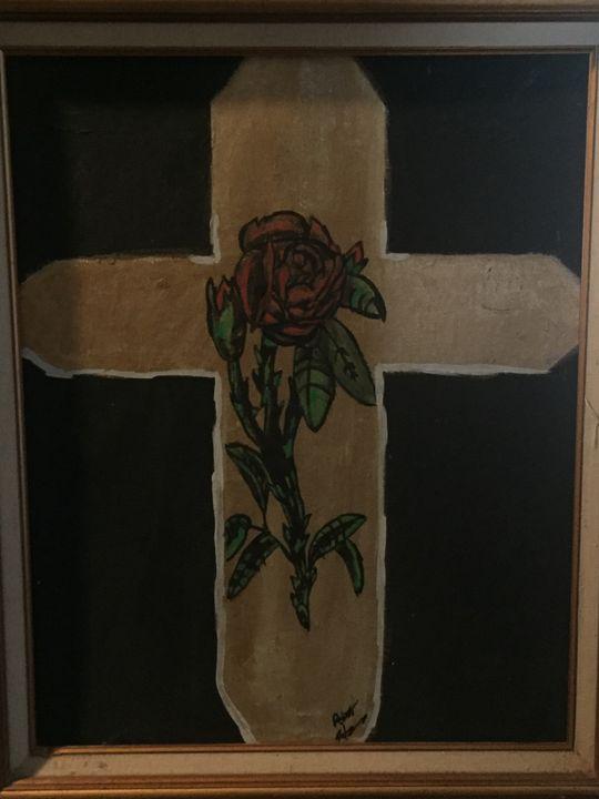 Golden red rose cross - Robert harris