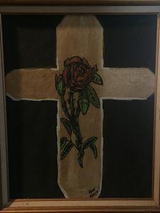 Golden red rose cross