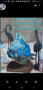 300 lb turquoise Boulder metal stand - Art and Jewelry Estate Buyers