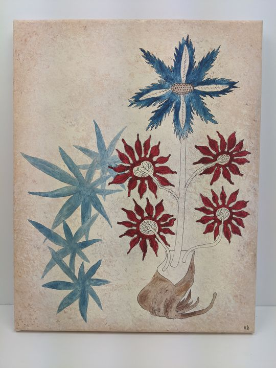 Blue and Red Flowers - Kristin Dunham