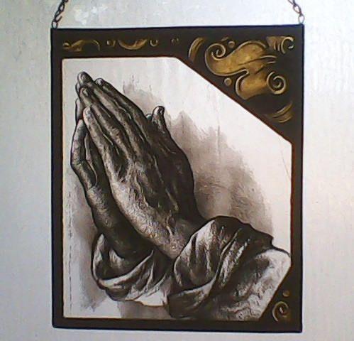 Praying Hands Painted Stained Gass - GabrielStudiosArt