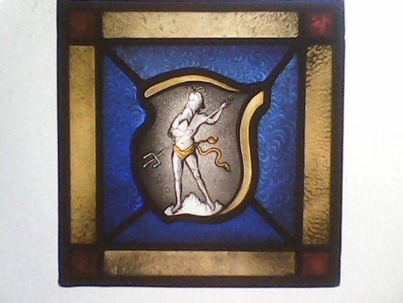 Neptune Stained Glass Crest Heraldic - GabrielStudiosArt