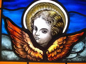 Cherub, Angel Painted Stained Glass