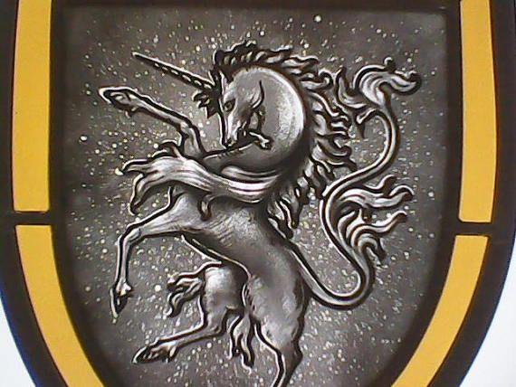 Unicorn heraldic stained glass crest - GabrielStudiosArt