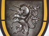 Unicorn heraldic stained glass crest