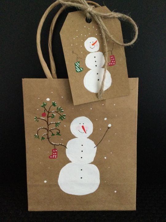 Christmas bag and tag - Brushstrokes of Joy.            Wholesale pricing.