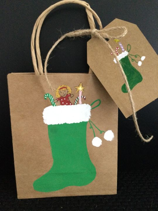 Christmas gift bag with matching tag - Brushstrokes of Joy.            Wholesale pricing.