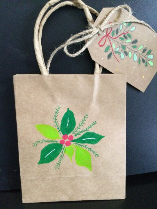 Christmas bag with matching tag - Brushstrokes of Joy.            Wholesale pricing.