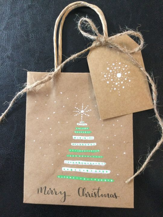 Christmas bags and tags. - Brushstrokes of Joy.            Wholesale pricing.