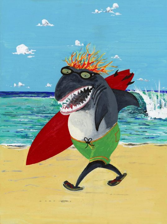 Great White Surfer - RW Davison Art