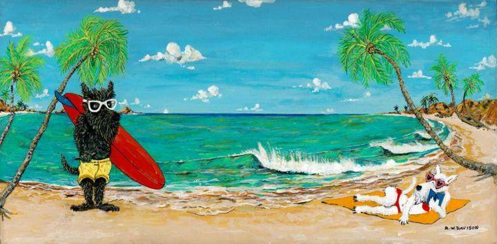 Rex Goes Surfing - RW Davison Art