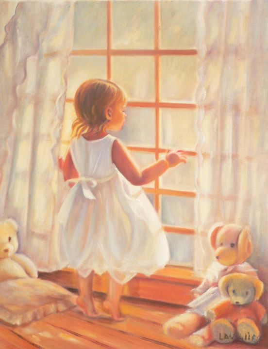 Tip-toes baby girl at the window - imaginart
