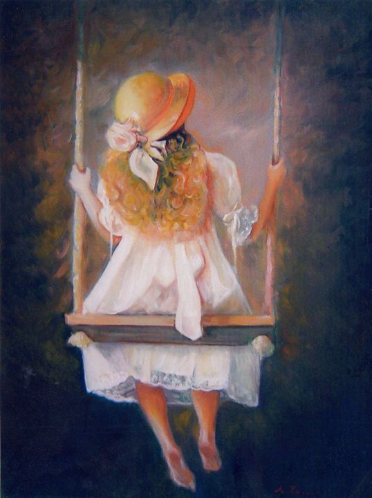 Romantic girl on a swing - imaginart