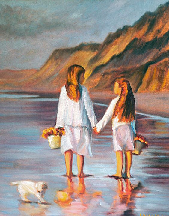 Sisters on the beach - imaginart