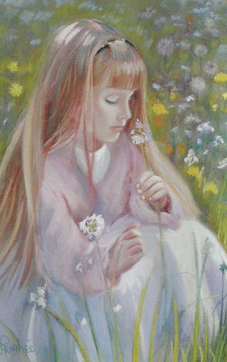 Girl in wild flowers field - imaginart