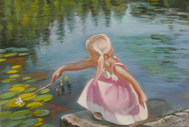 Little blond girl on a pond - imaginart